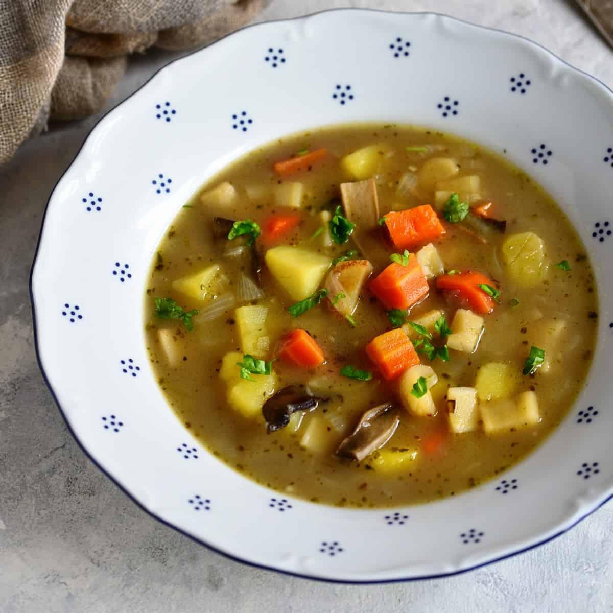 bramboracka Czech potato soup served