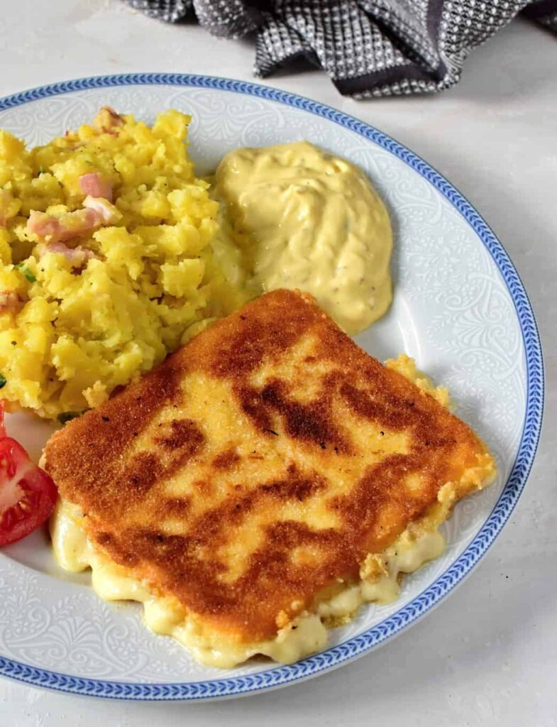 czech smažák, breaded fried cheese