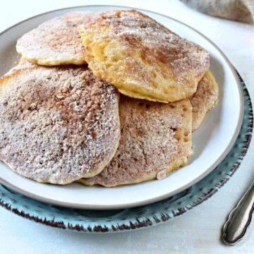 Czech pancakes lívance with cinnamon