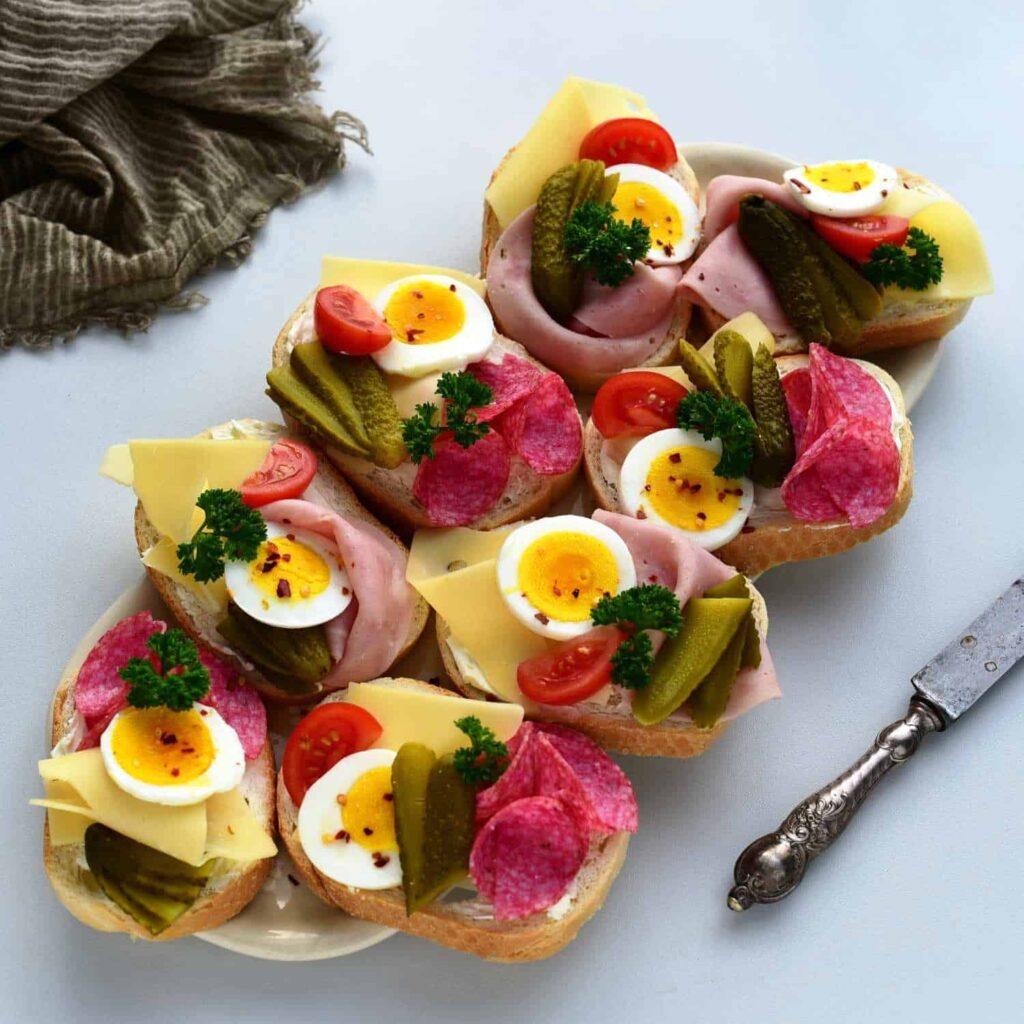 oblozene chlebicky czech open faced sandwiches