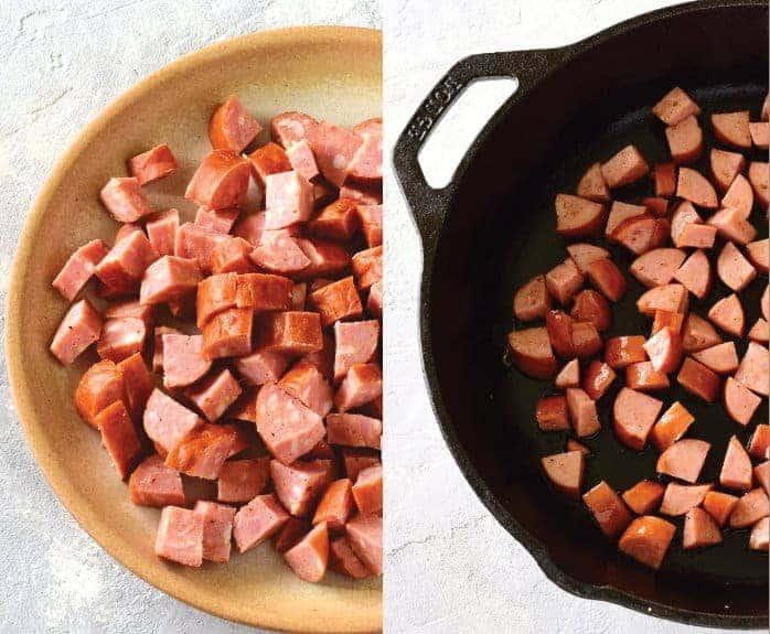 diced klobása sausage in a pan
