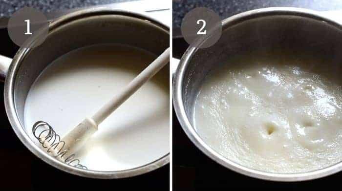 krupicová kaše cooking in a pot
