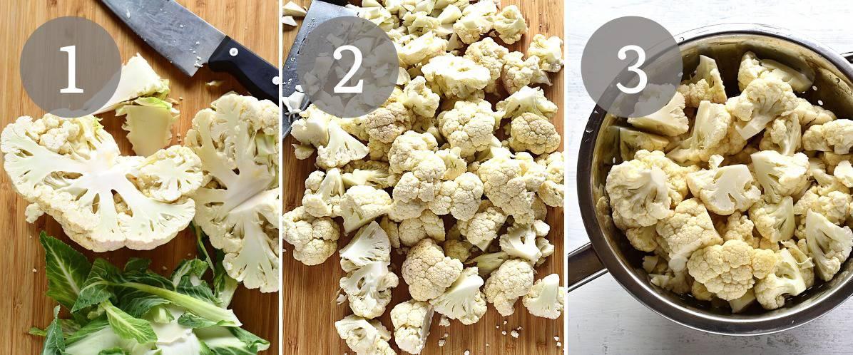 cut cauliflower into florets