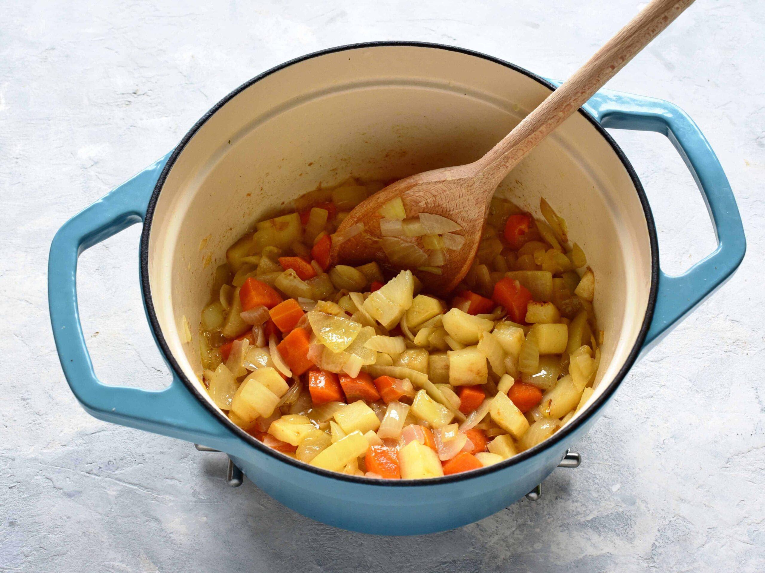 czech bramboracka preparing in a pot