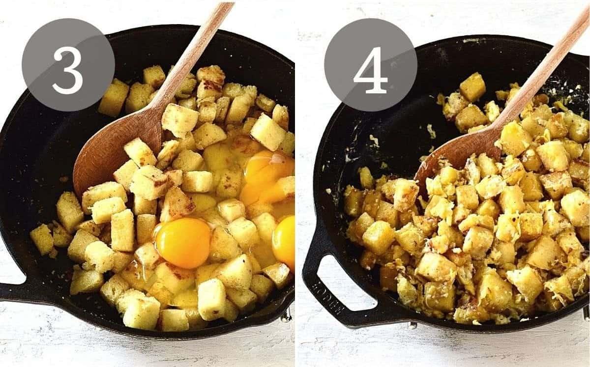 bread dumplings with eggs preparing