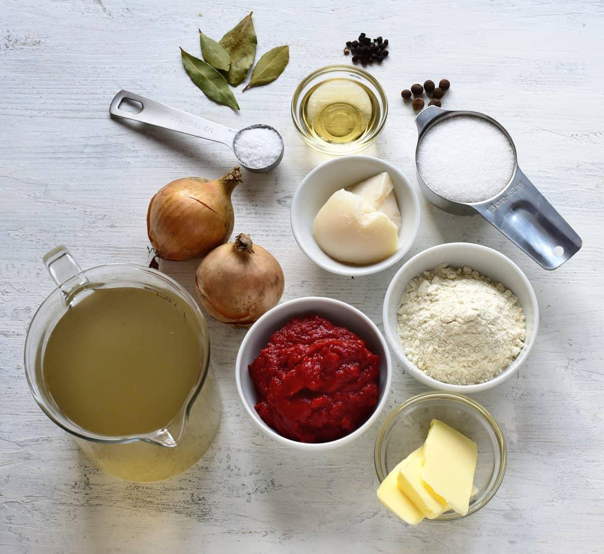 ingredients for czech rajská omáčka sauce