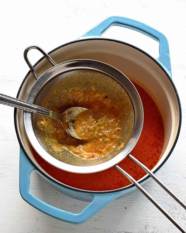 strain the chicken paprikash through a sieve