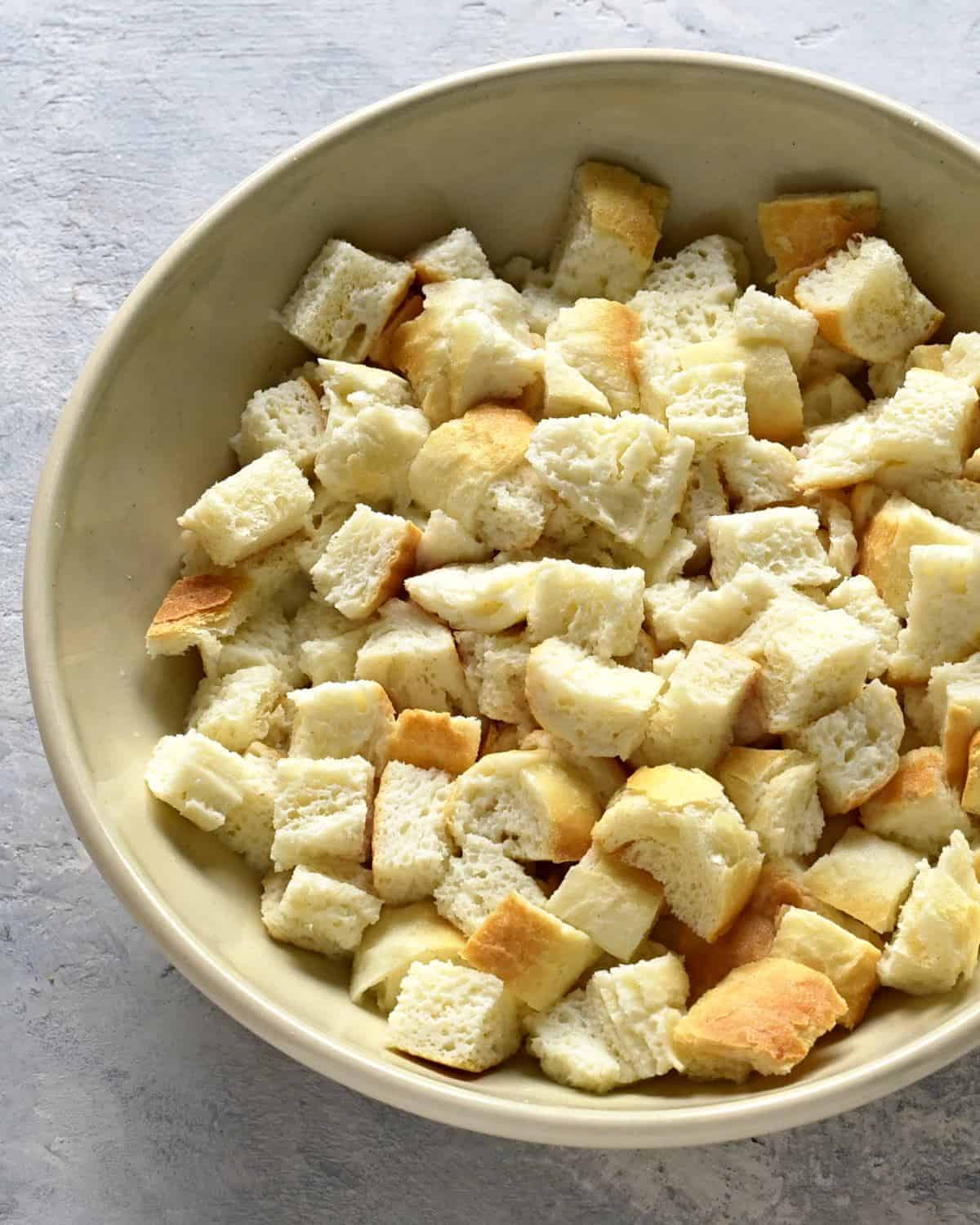 cubed white bread soaked in milk