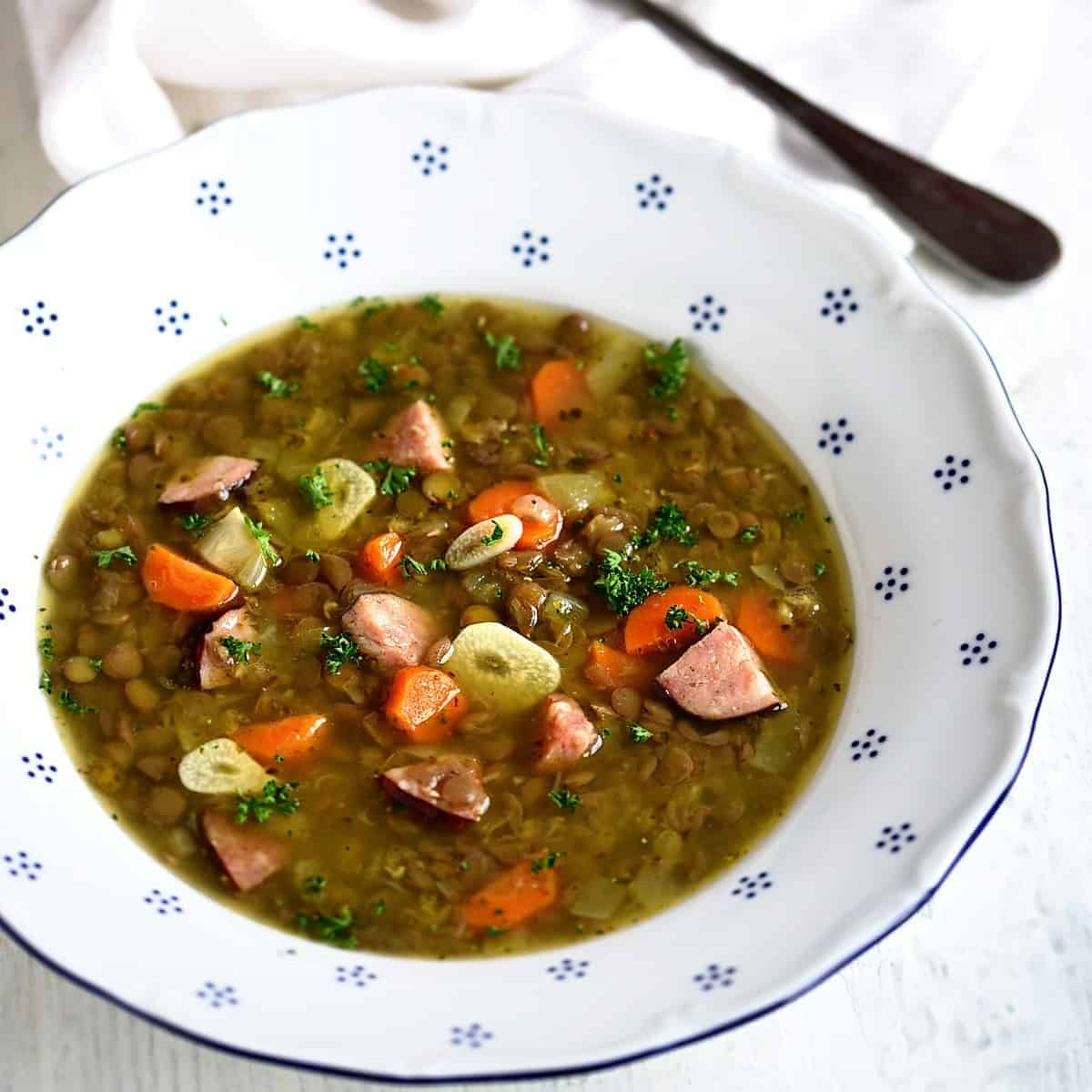 czech lentil soup čočková polévka