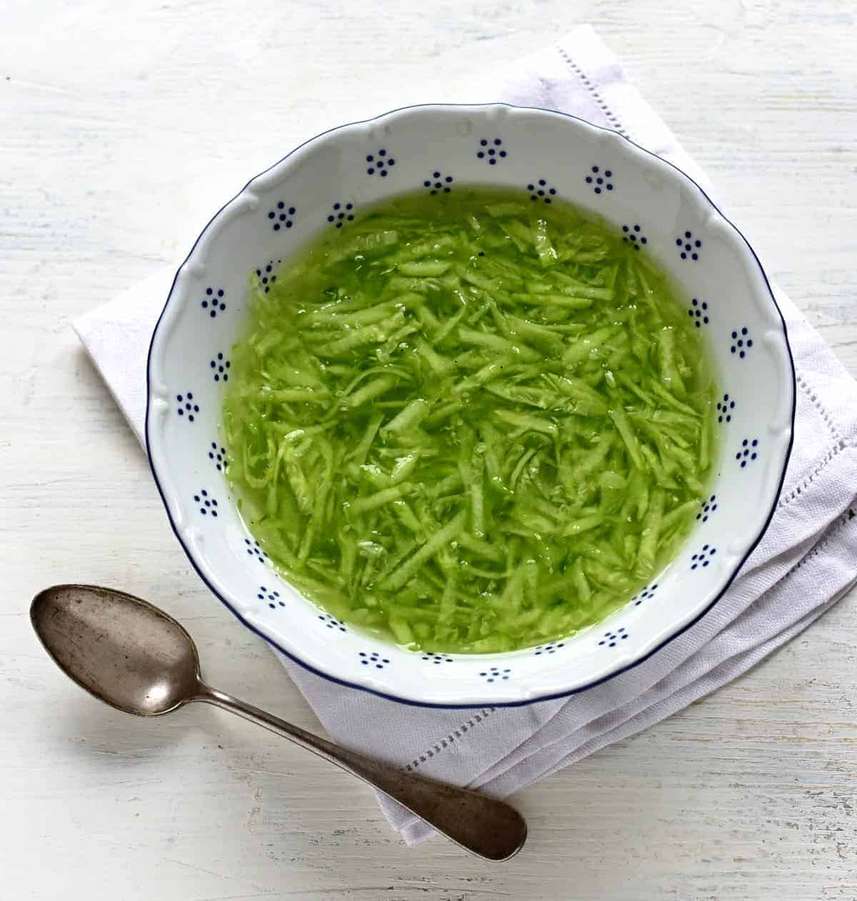 czech cucumber salad serving
