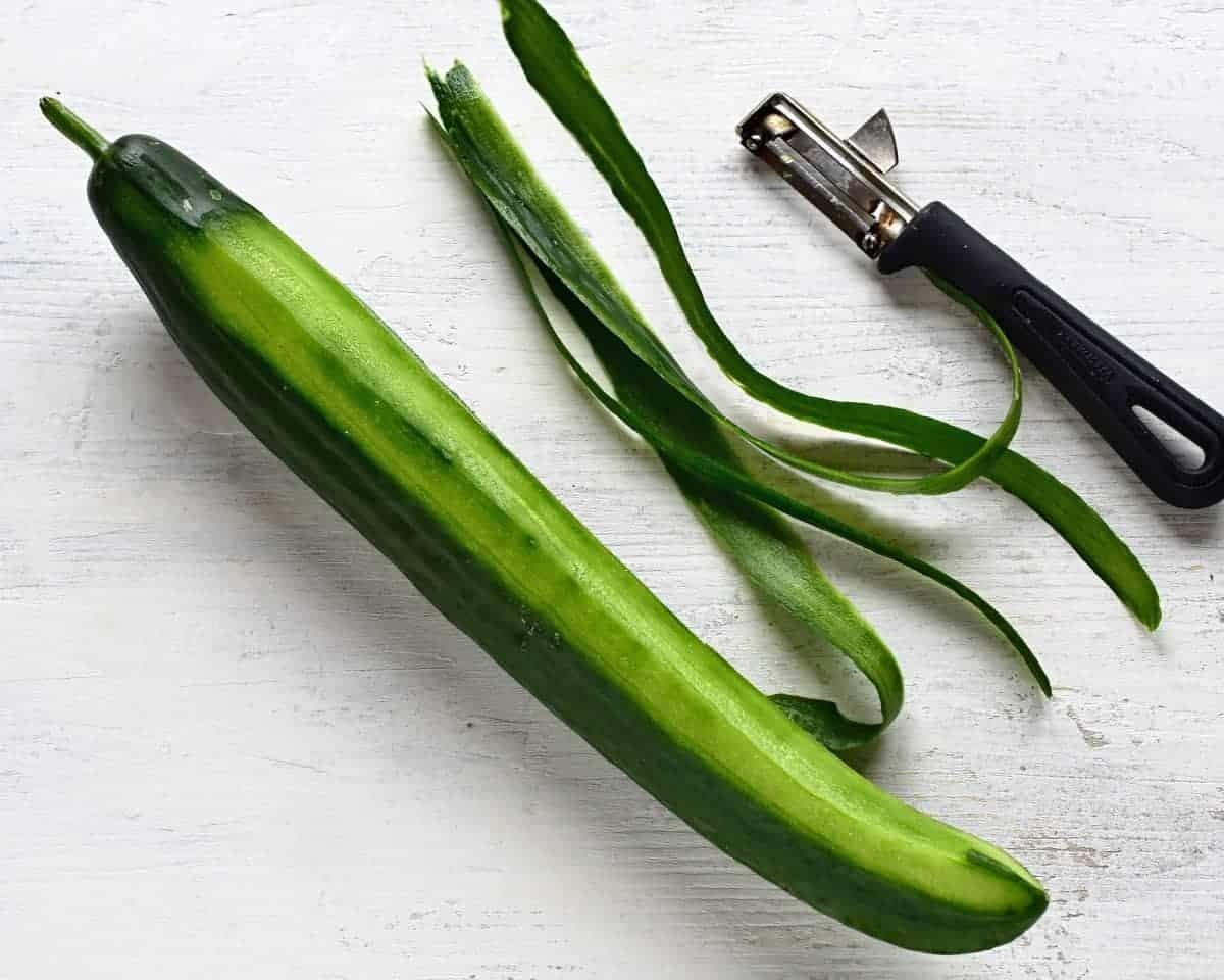 peeling cucumber