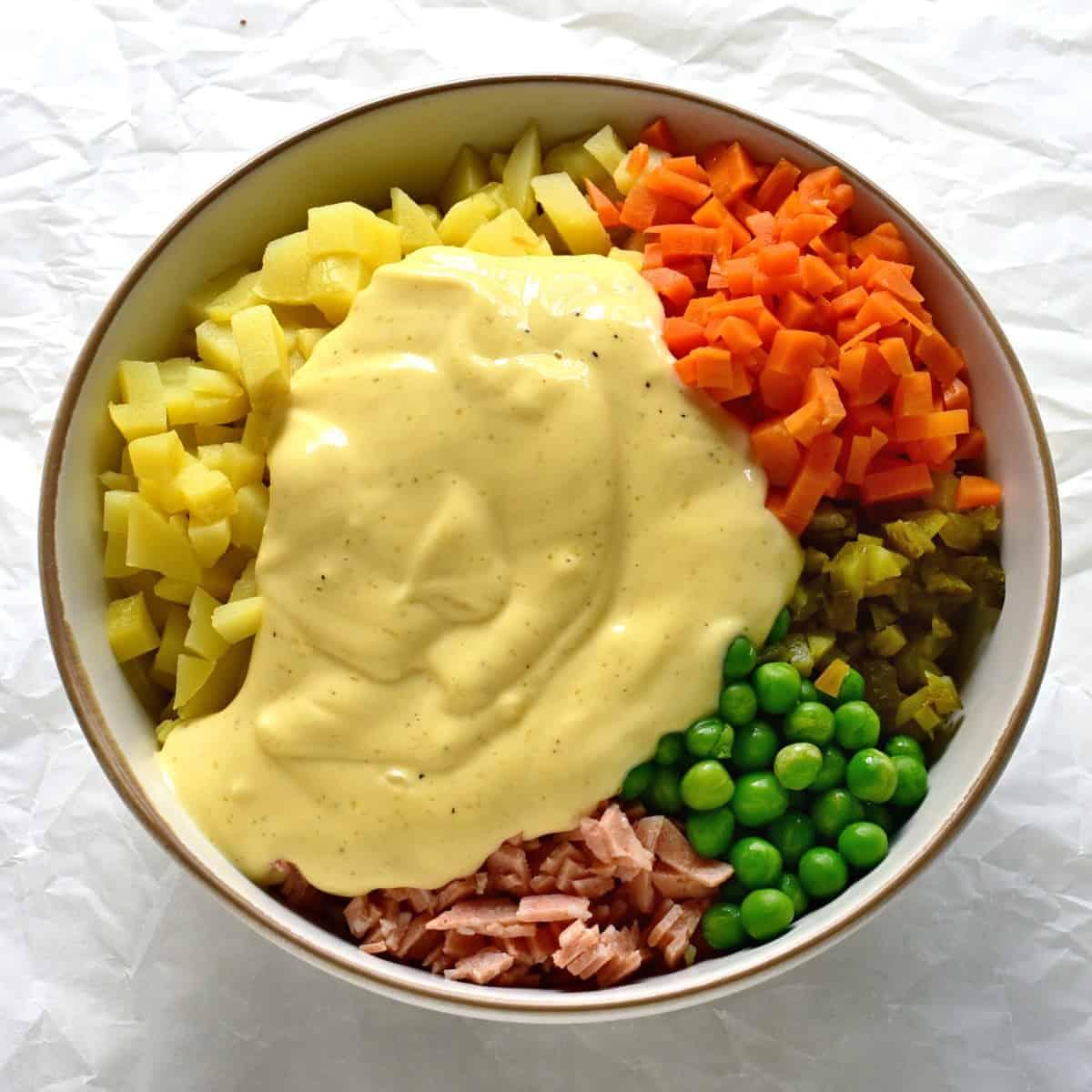 czech mayo deli salad - vlašský salát preparation