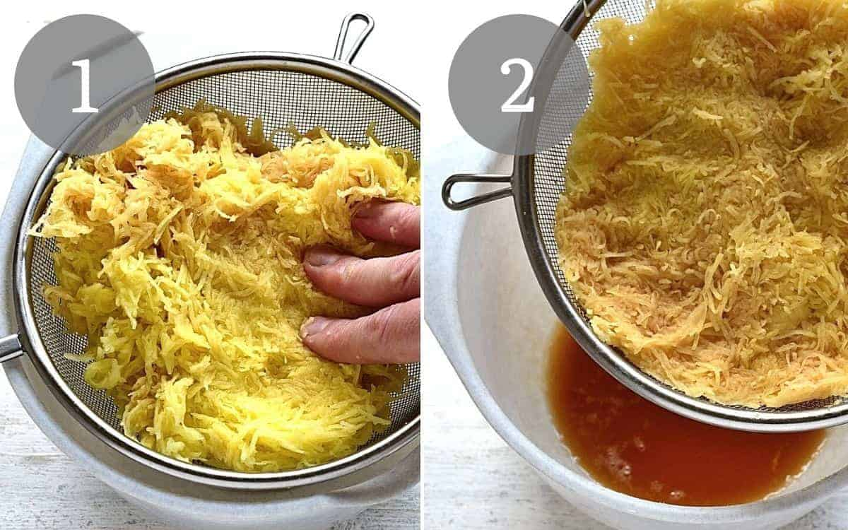 squeezing grated potatoes