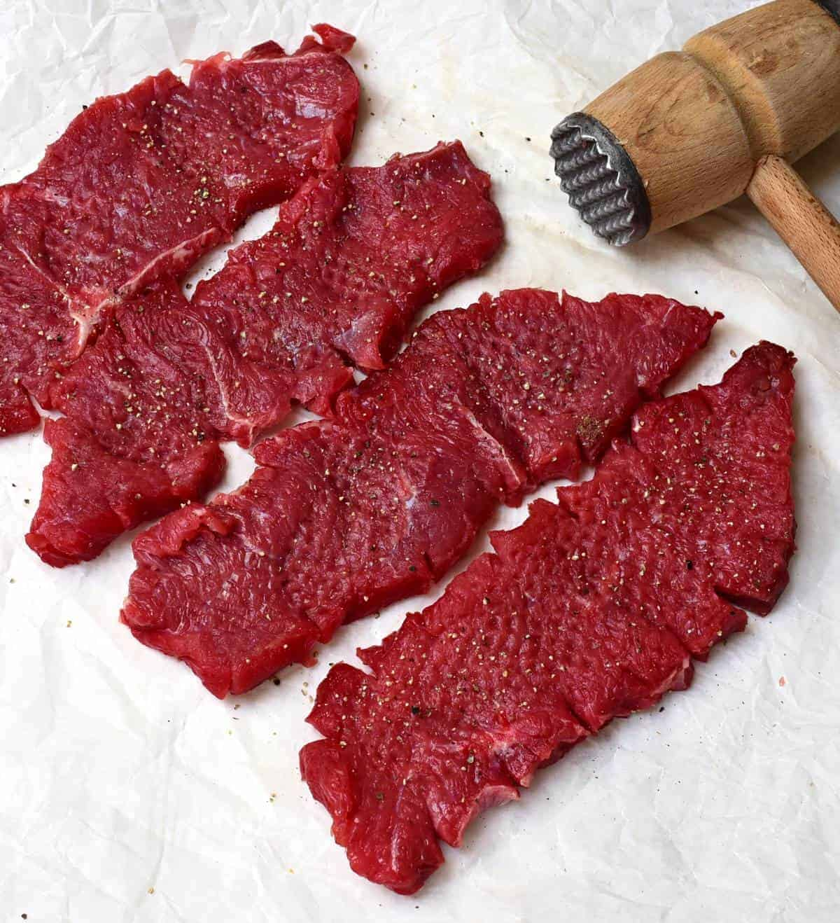 Pound the beef steaks