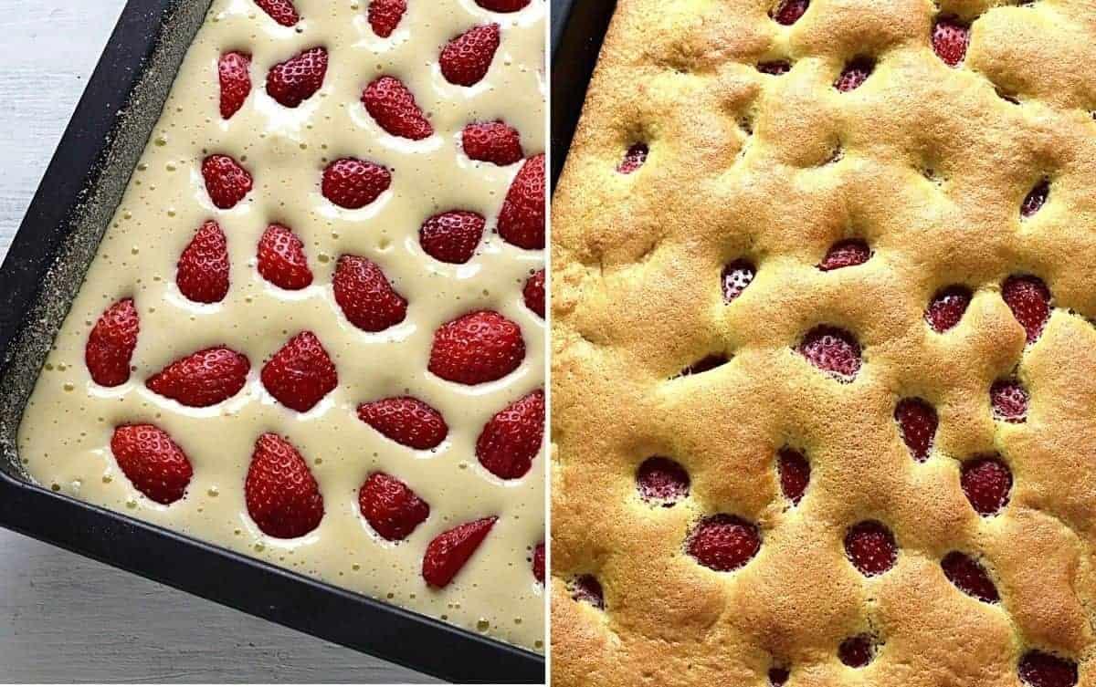 baking strawberry coffee cake