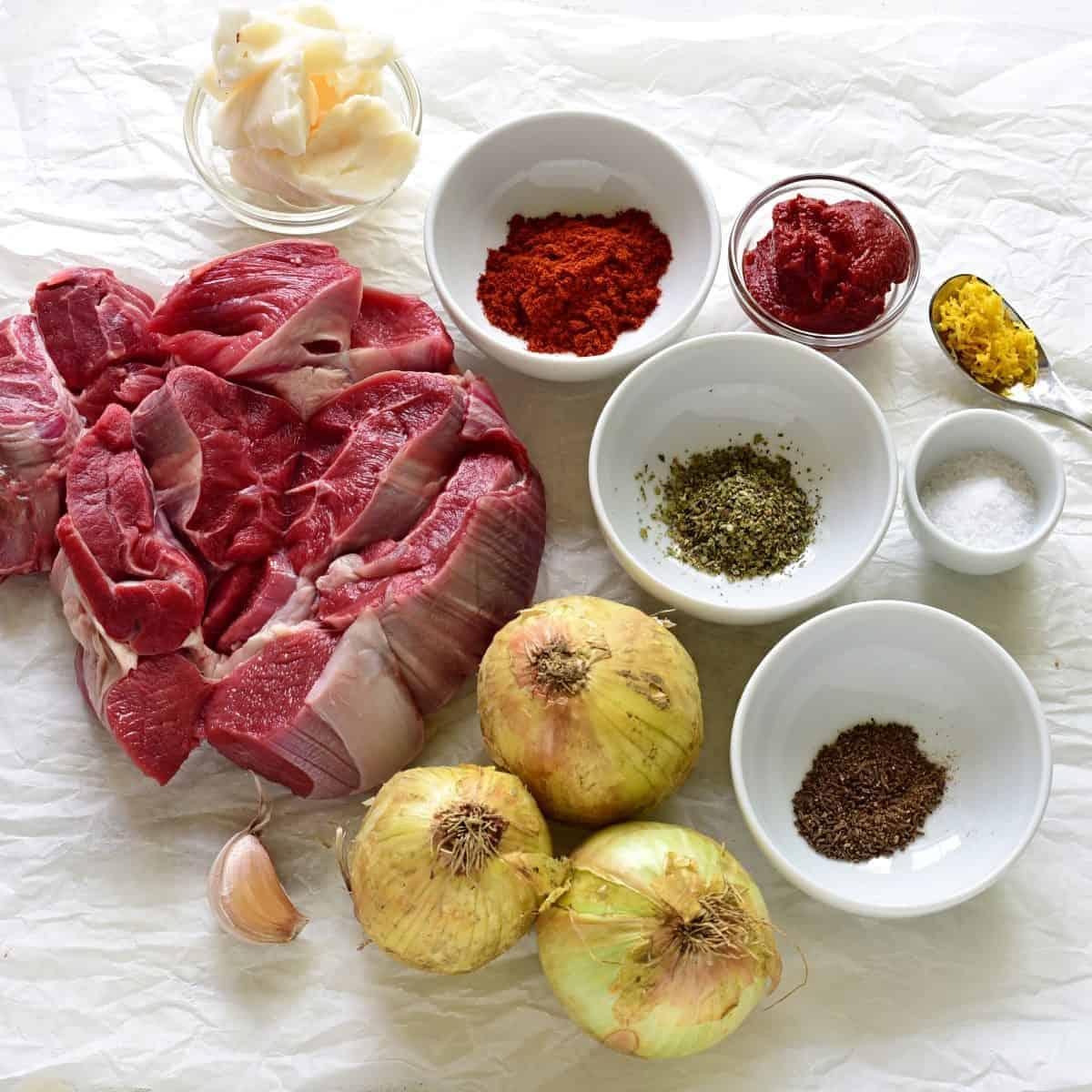 Austrian Goulash ingredients.