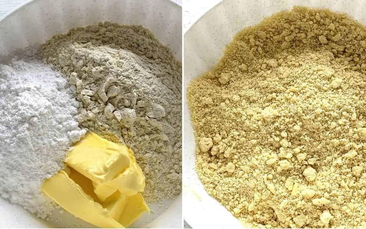 making crumbles czech drobenka
