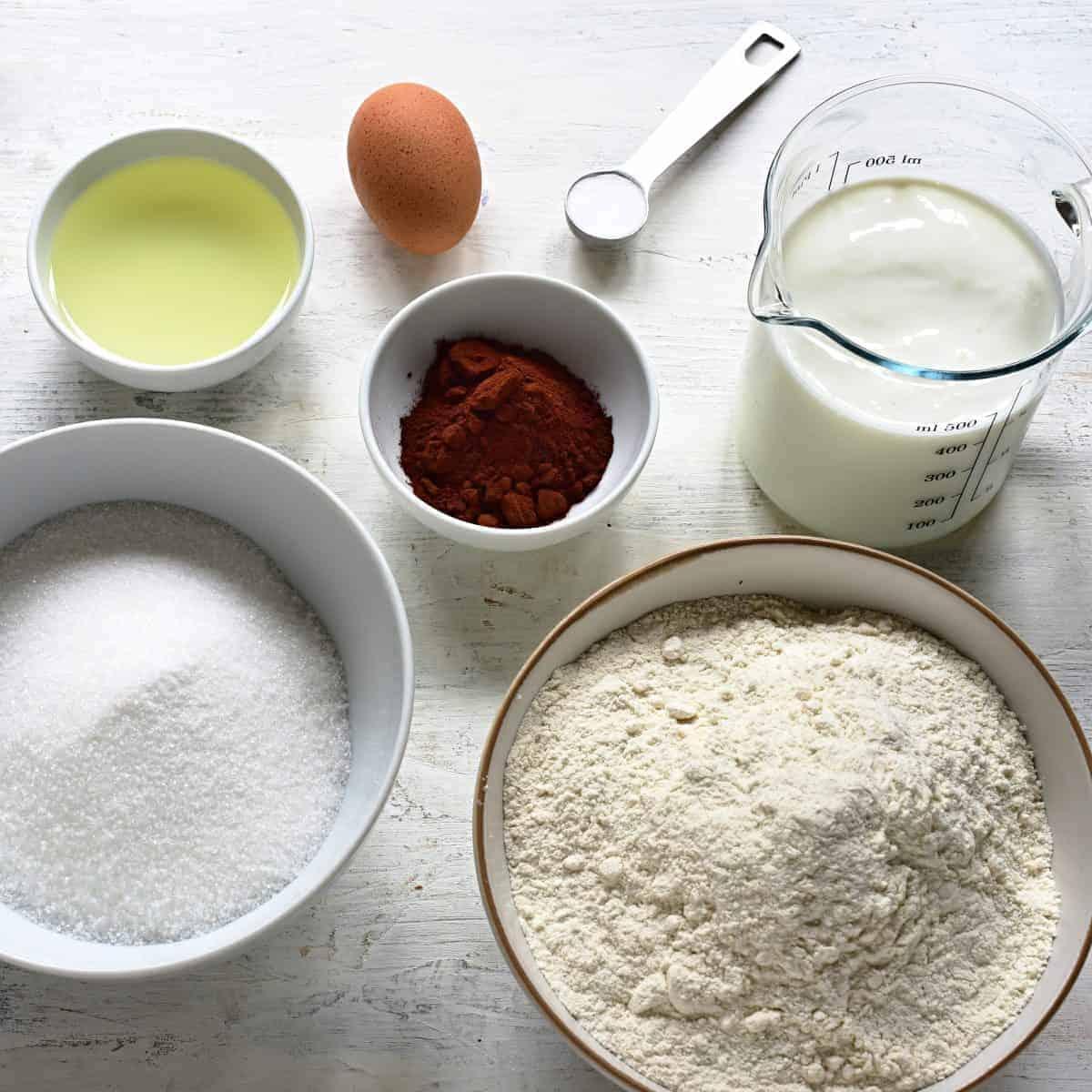 Buttermilk sheet cake ingredients.
