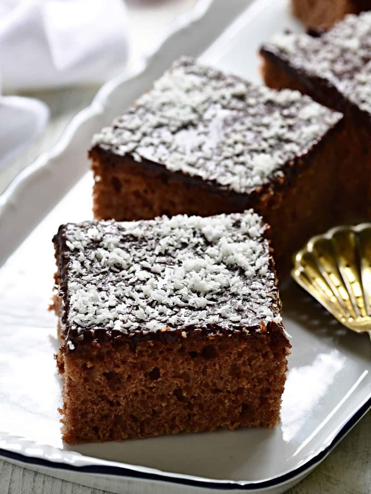 Buttermilk sheet cake served on a plate.