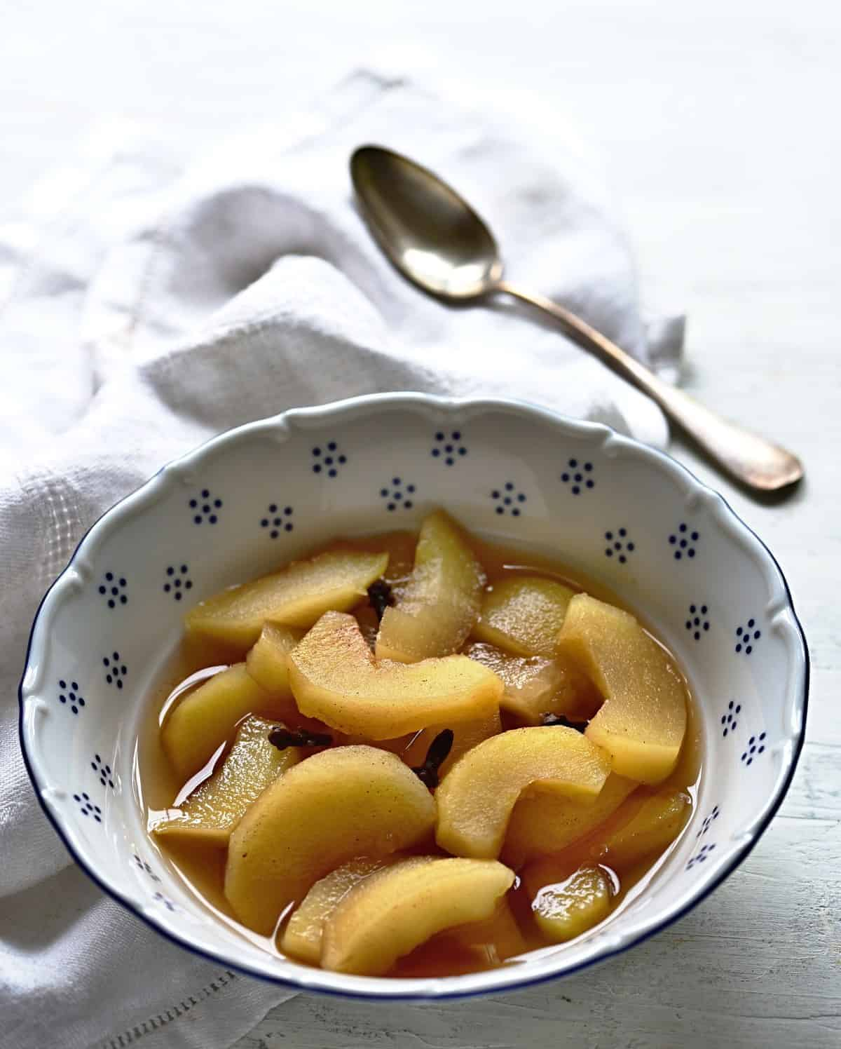 Czech spiced apple compote with cinnamon.