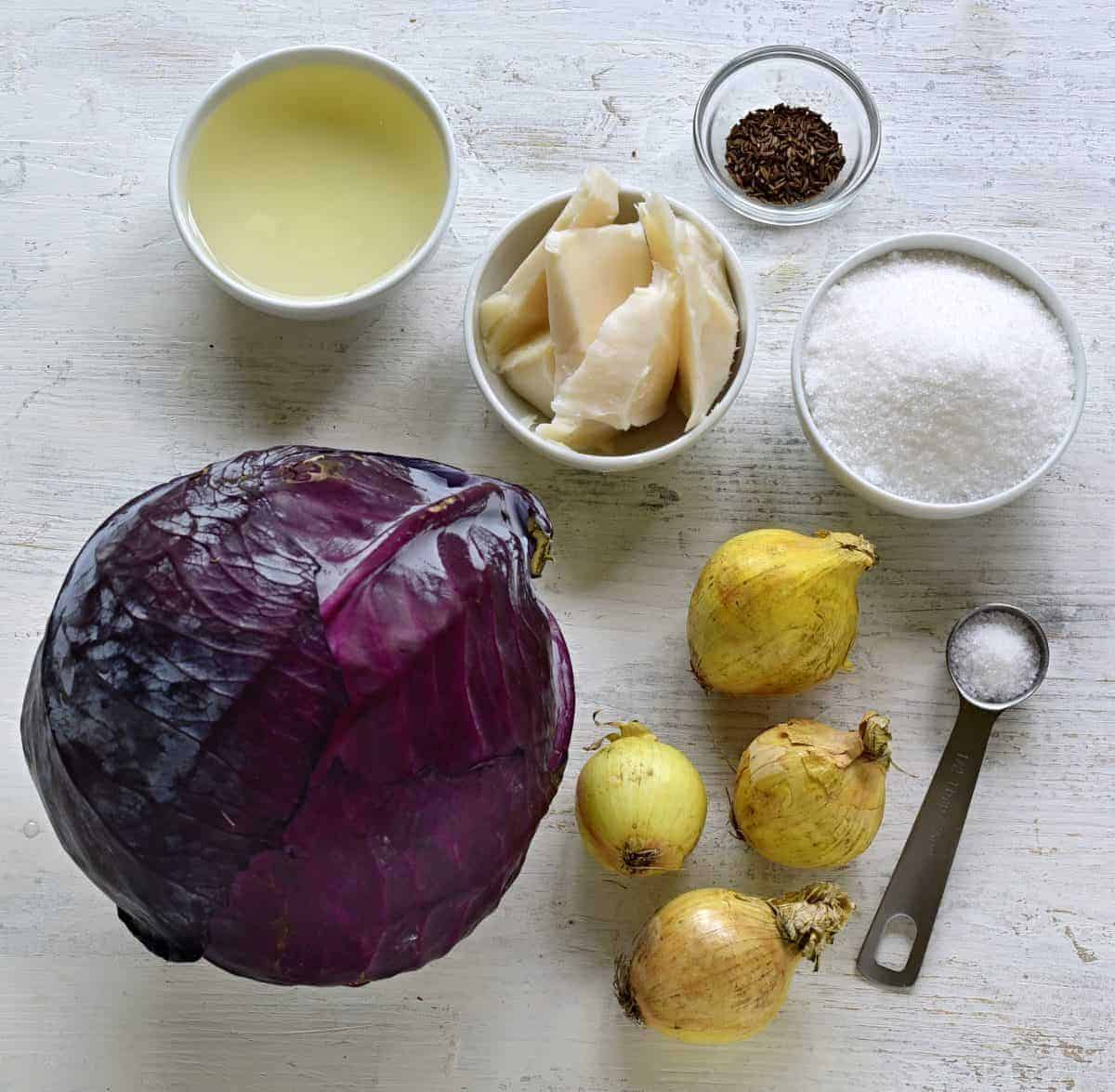 Czech braised red cabbage indgredients