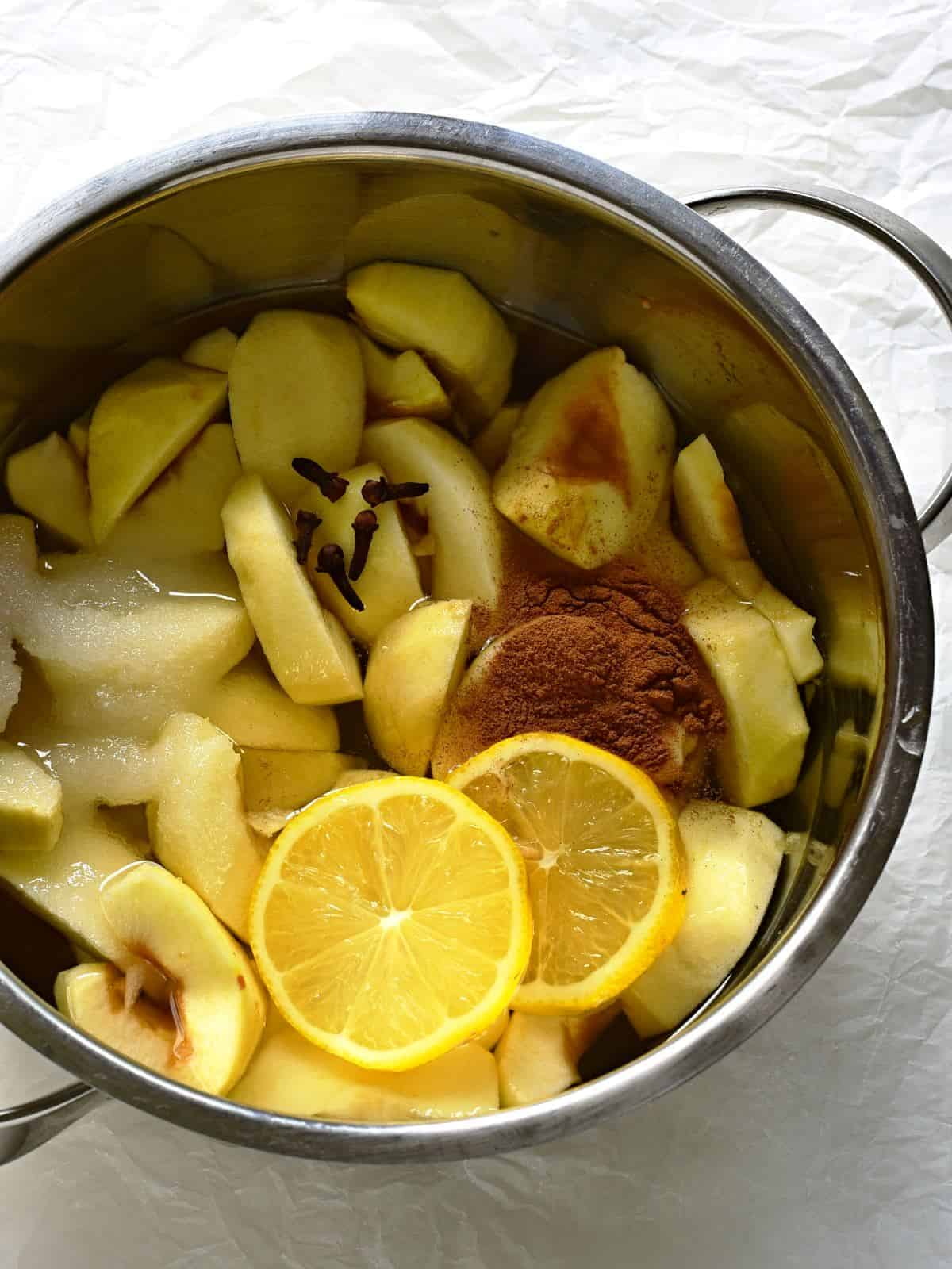 Making apple compote.