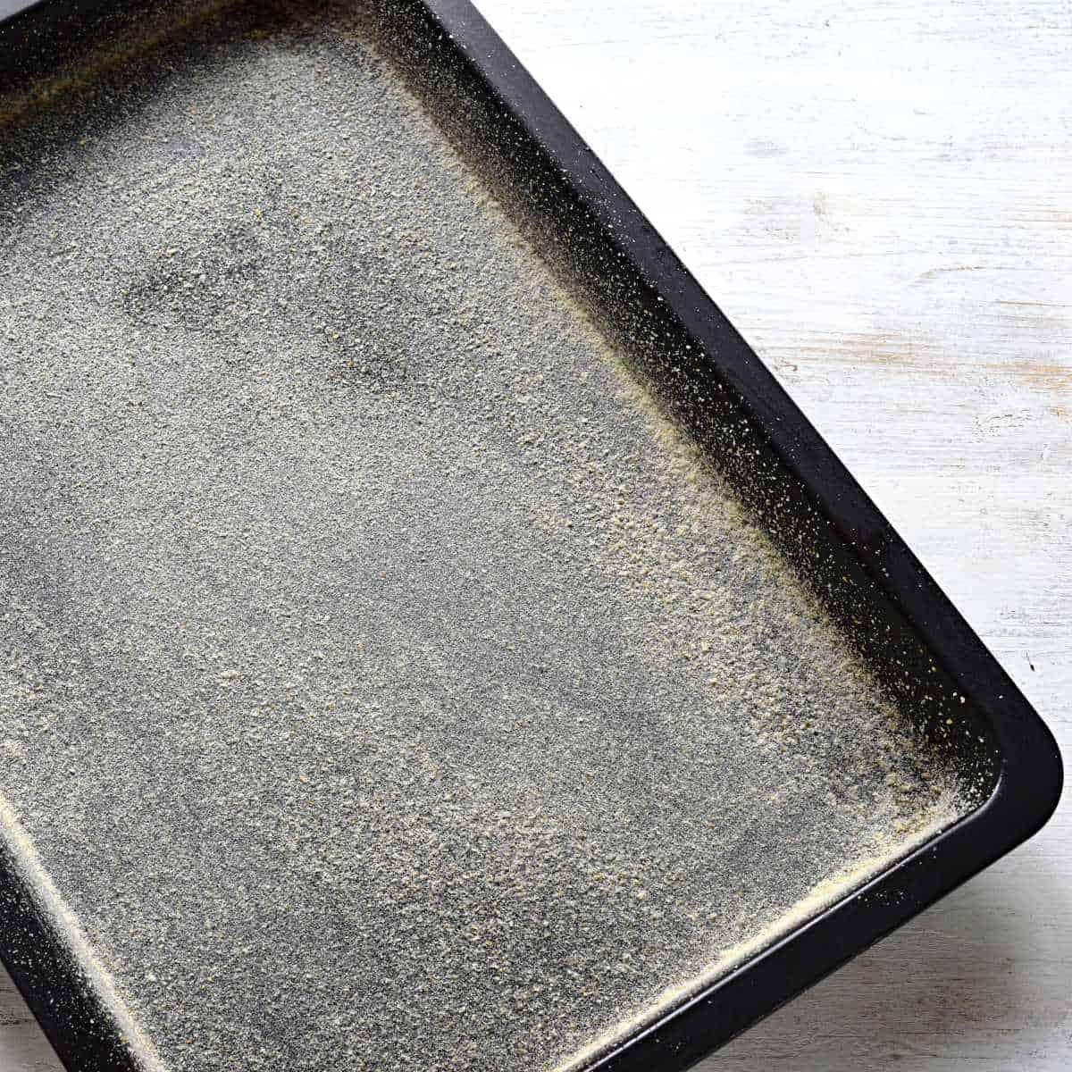 Prepared baking sheet for a buttermilk cake.