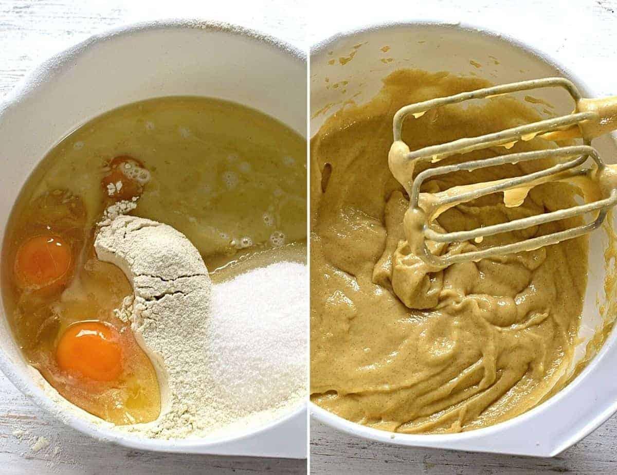 Making semi-liquid batter for cake.