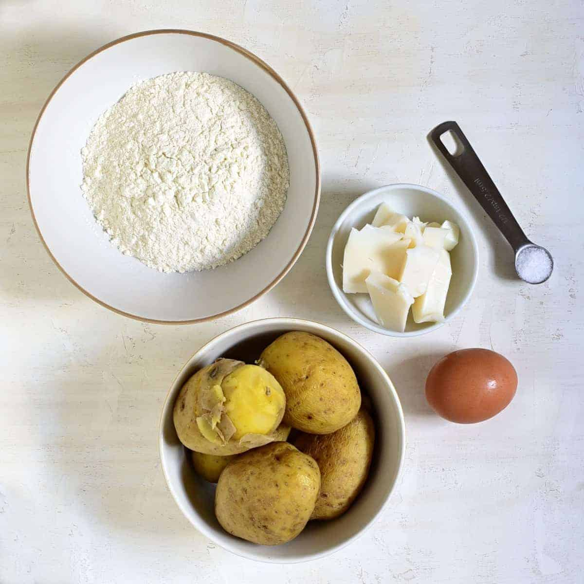 Czech potato flatbread placky ingredients.