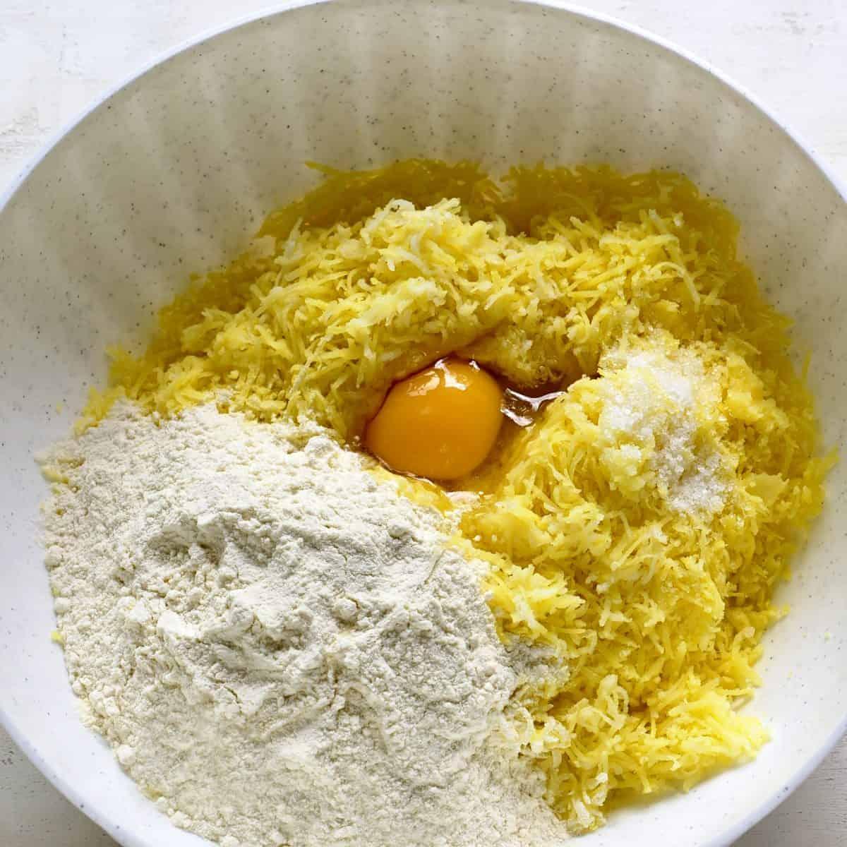 Making potato dough.