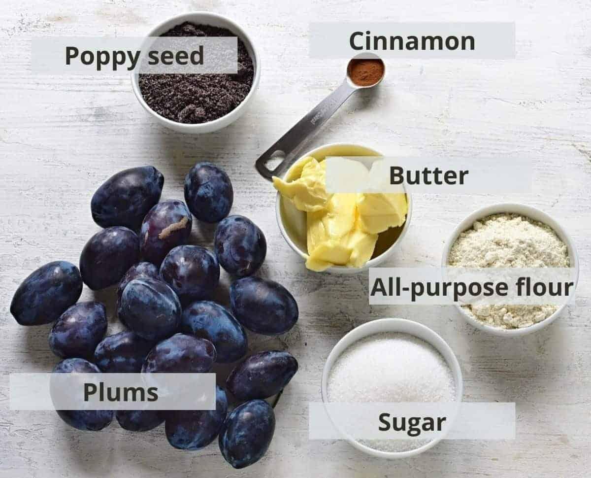 Plum layer ingredients - for Zwetschgenkuchen