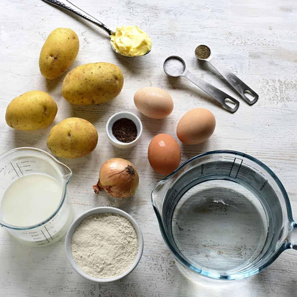 Creamy potato sauce ingredients.