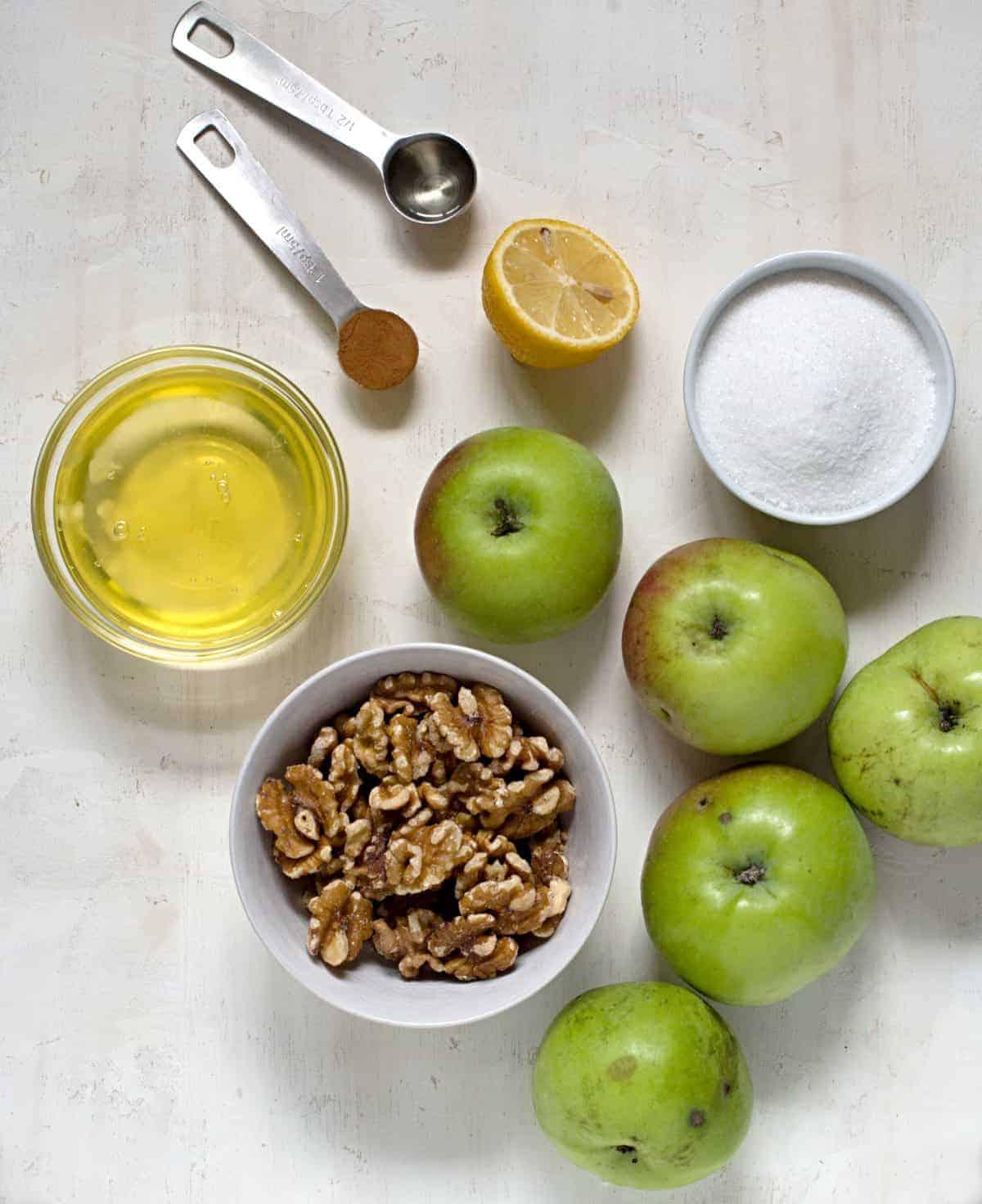 Ingredients for apple slice.