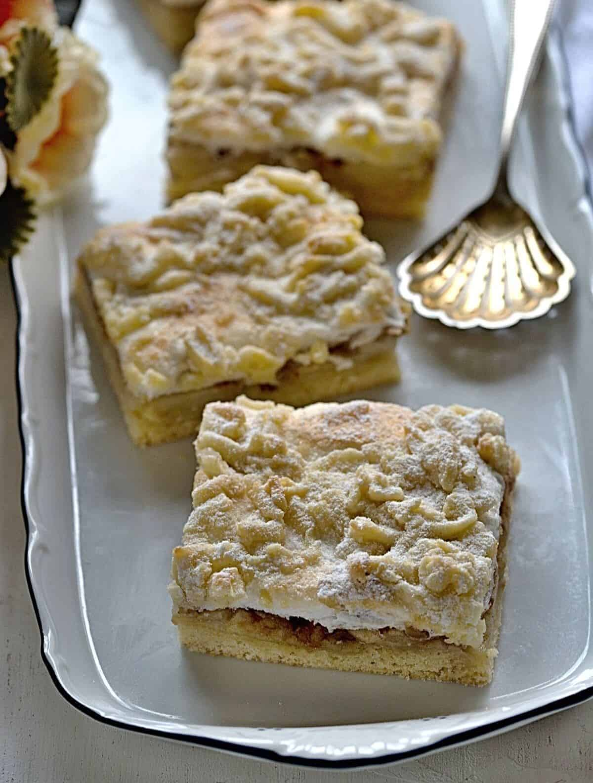 Czech apple slice with meringue topping.