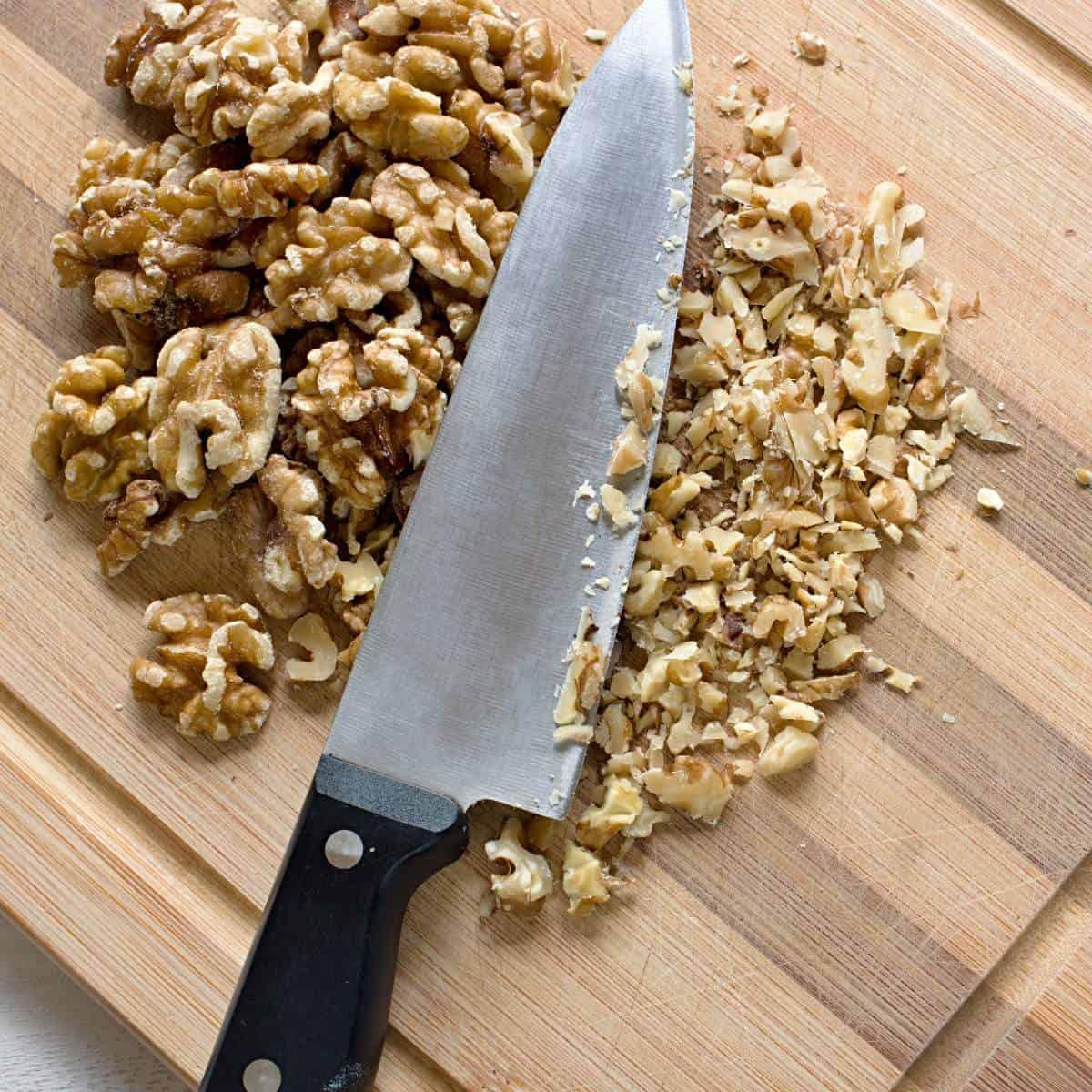 Chopping walnuts.
