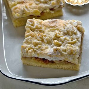 Apple slice with meringue topping.